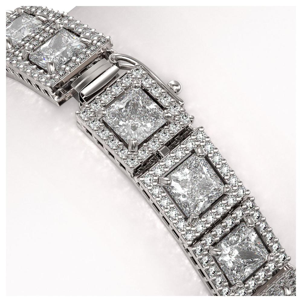 Lot 6320: 18.24 ctw Princess Diamond Bracelet 18K White Gold - REF-2522R7K - SKU:42725