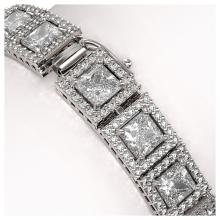 Lot 6320: 18.24 ctw Princess Diamond Bracelet 18K White Gold - REF-2522R7K - SKU:42725