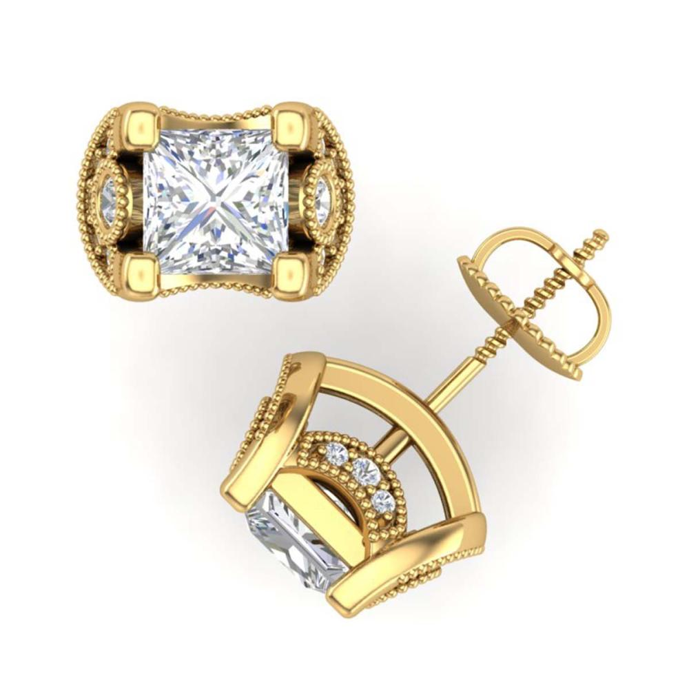 Lot 6333: 2.5 ctw Princess VS/SI Diamond Art Deco Stud Earrings 18K Yellow Gold - REF-642A2V - SKU:37153