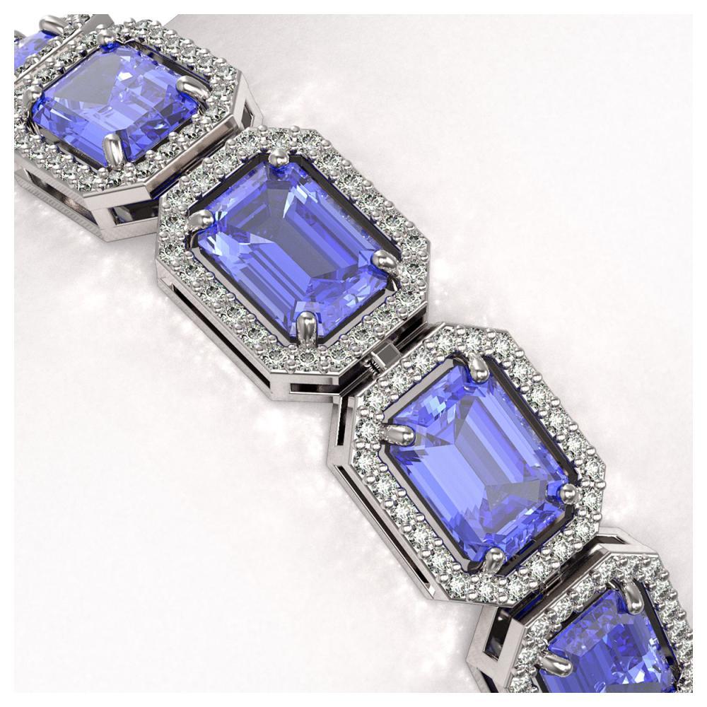 Lot 6350: 25.36 ctw Tanzanite & Diamond Halo Bracelet 10K White Gold - REF-636W4H - SKU:41387