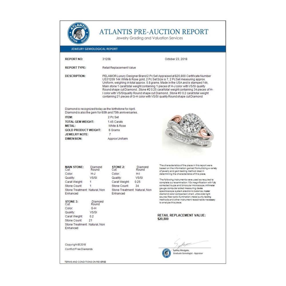 Lot 6121: 1.45 ctw VS/SI Diamond 2pc Set Solitaire Halo 14K White & Rose Gold - REF-283R8K - SKU:31209