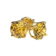 Lot 6381: 1 ctw Intense Yellow Diamond Stud Earrings 10K Yellow Gold - REF-116W3H - SKU:33059