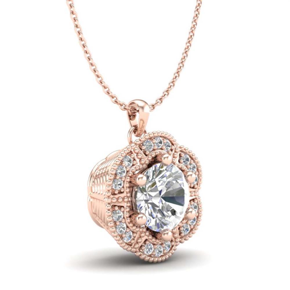 Lot 6379: 1.01 ctw VS/SI Diamond Solitaire Art Deco Stud Necklace 18K Rose Gold - REF-245M5F - SKU:37110