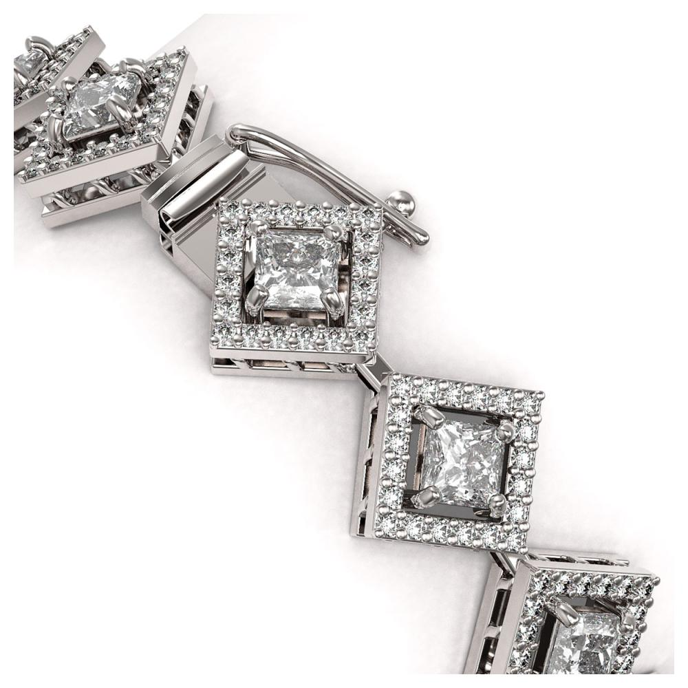 Lot 6375: 8.46 ctw Princess Diamond Bracelet 18K White Gold - REF-703R2K - SKU:43094
