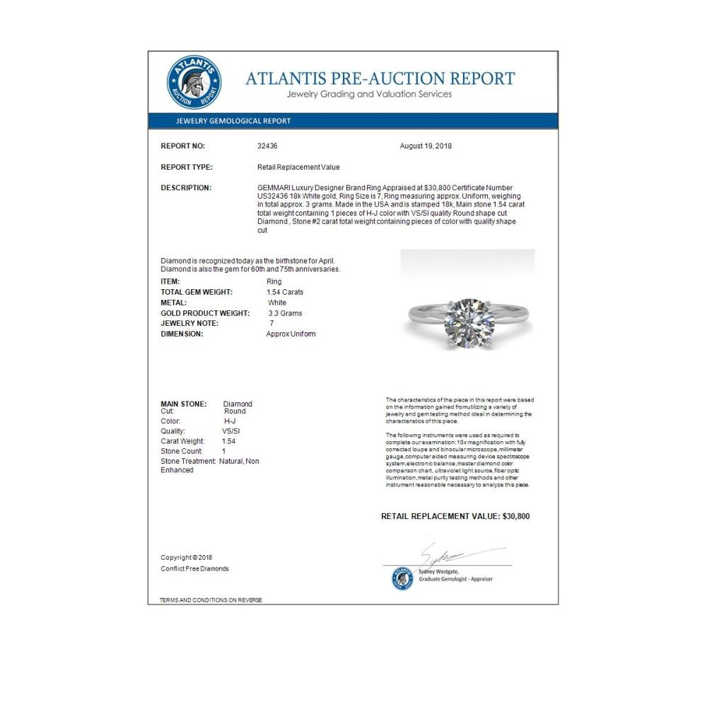 Lot 6142: 1.54 ctw VS/SI Diamond Ring 18K White Gold - REF-577H5M - SKU:32436