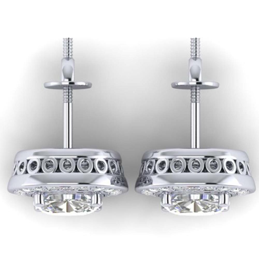 Lot 6438: 2 ctw VS/SI Cushion Diamond Art Deco Stud Earrings 14K White Gold - REF-341H3M - SKU:30336