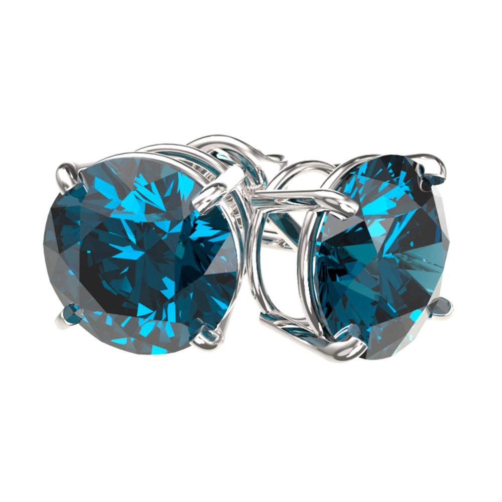 Lot 6414: 3.15 ctw Intense Blue Diamond Stud Earrings 10K White Gold - REF-435V2Y - SKU:36706