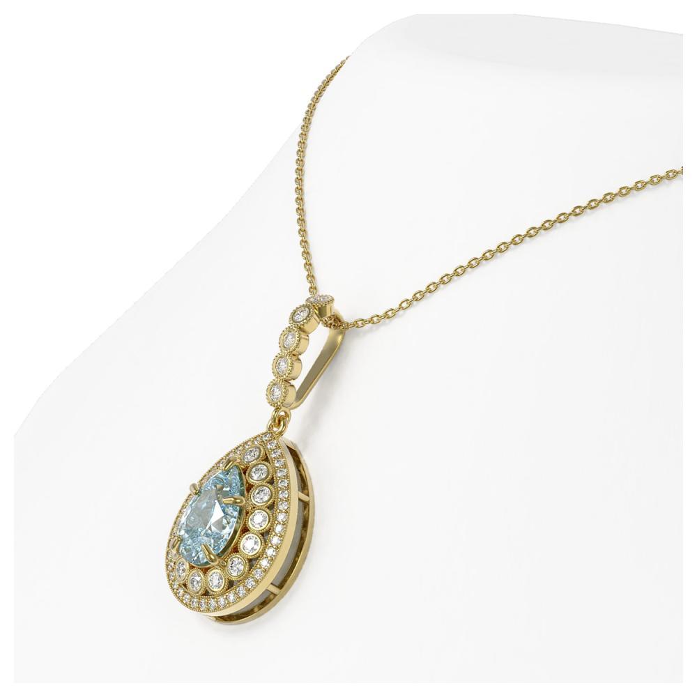 Lot 6455: 3.77 ctw Aquamarine & Diamond Necklace 14K Yellow Gold - REF-160V2Y - SKU:43213