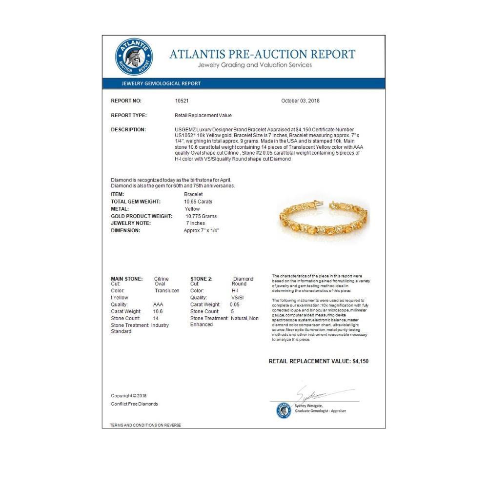 Lot 6162: 10.65 ctw Citrine & Diamond Bracelet 10K Yellow Gold - REF-68W2H - SKU:10521