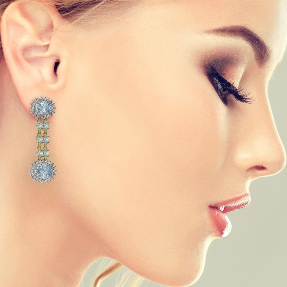 Lot 6452: 12.82 ctw Sky Topaz & Diamond Earrings 14K Yellow Gold - REF-172A7V - SKU:44485