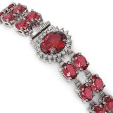 Lot 6481: 30.69 ctw Tourmaline & Diamond Bracelet 14K White Gold - REF-298Y9X - SKU:44414