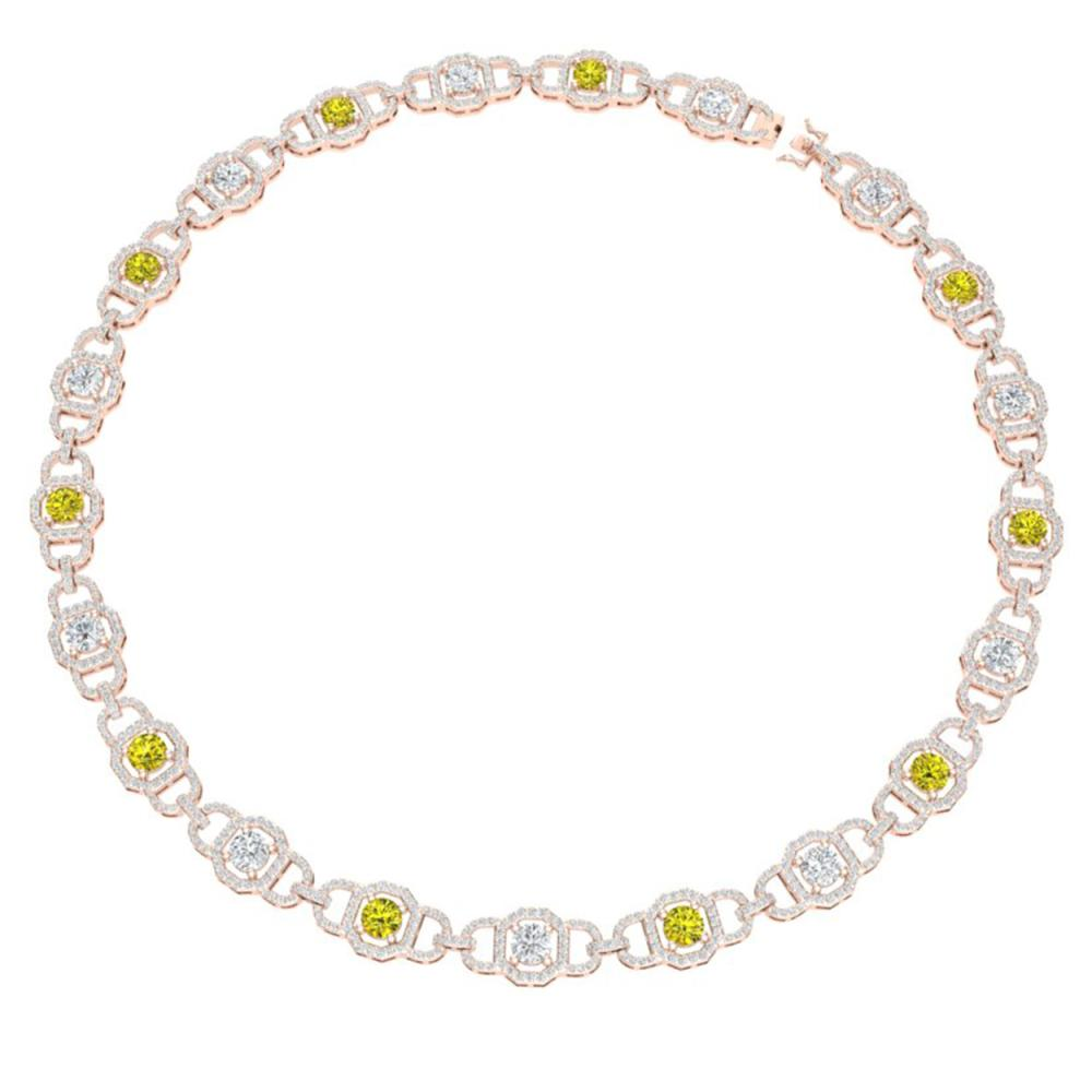 Lot 6471: 25 ctw SI/I Fancy And Diamond Necklace 18K Rose Gold - REF-2280N2A - SKU:40128