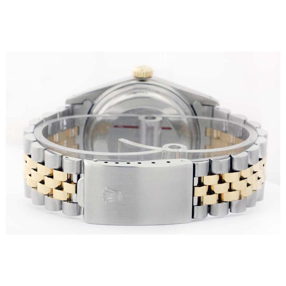 Lot 6502: Rolex Men's Two Tone 14K Gold/SS, QuickSet, Diam Pave Dial & Diam/Ruby Bezel - REF-665K3T
