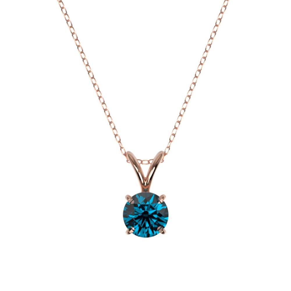 Lot 6540: 0.53 ctw Intense Blue Diamond Necklace 10K Rose Gold - REF-42A2V - SKU:36729