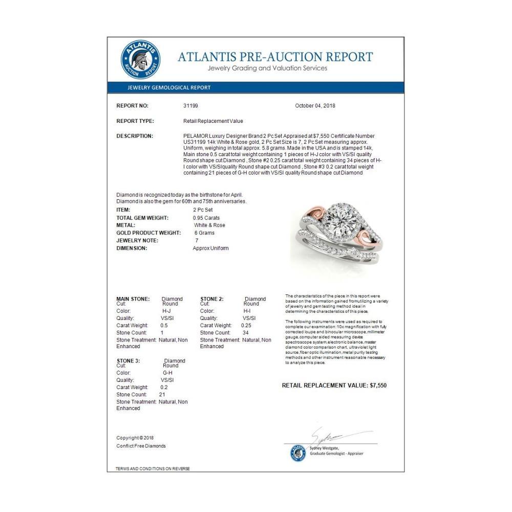 Lot 6207: 0.95 ctw VS/SI Diamond 2pc Set Solitaire Halo 14K White & Rose Gold - REF-114W5H - SKU:31199