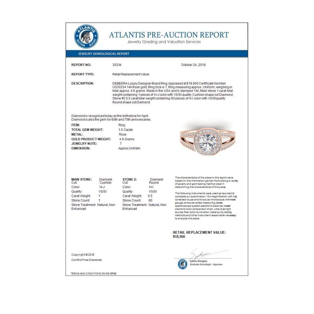 Lot 6218: 1.50 ctw VS/SI Cushion Diamond Art Deco Ring 14K Rose Gold - REF-376V3Y - SKU:30334