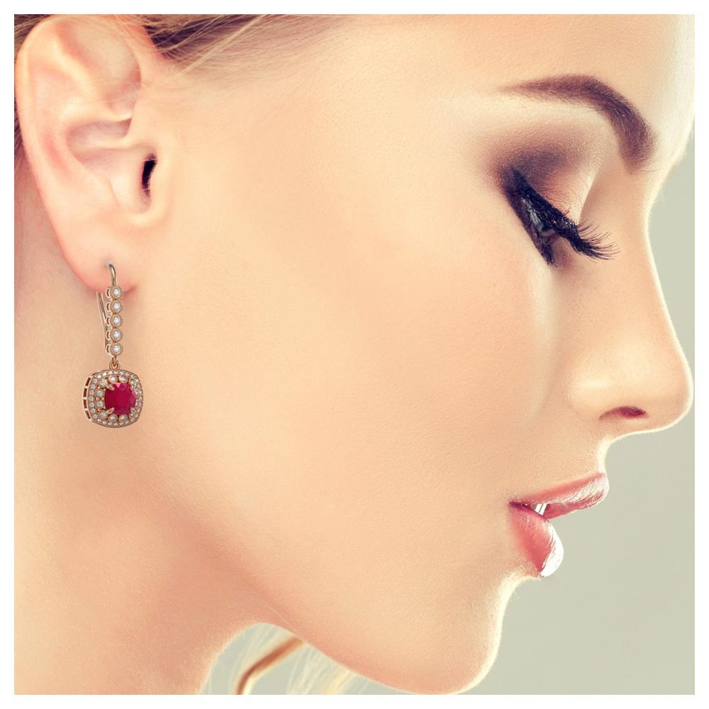 Lot 6562: 5.1 ctw Ruby & Diamond Earrings 14K Rose Gold - REF-140R5K - SKU:44052