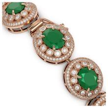 Lot 6578: 49.17 ctw Emerald & Diamond Bracelet 14K Rose Gold - REF-1404N4A - SKU:43710