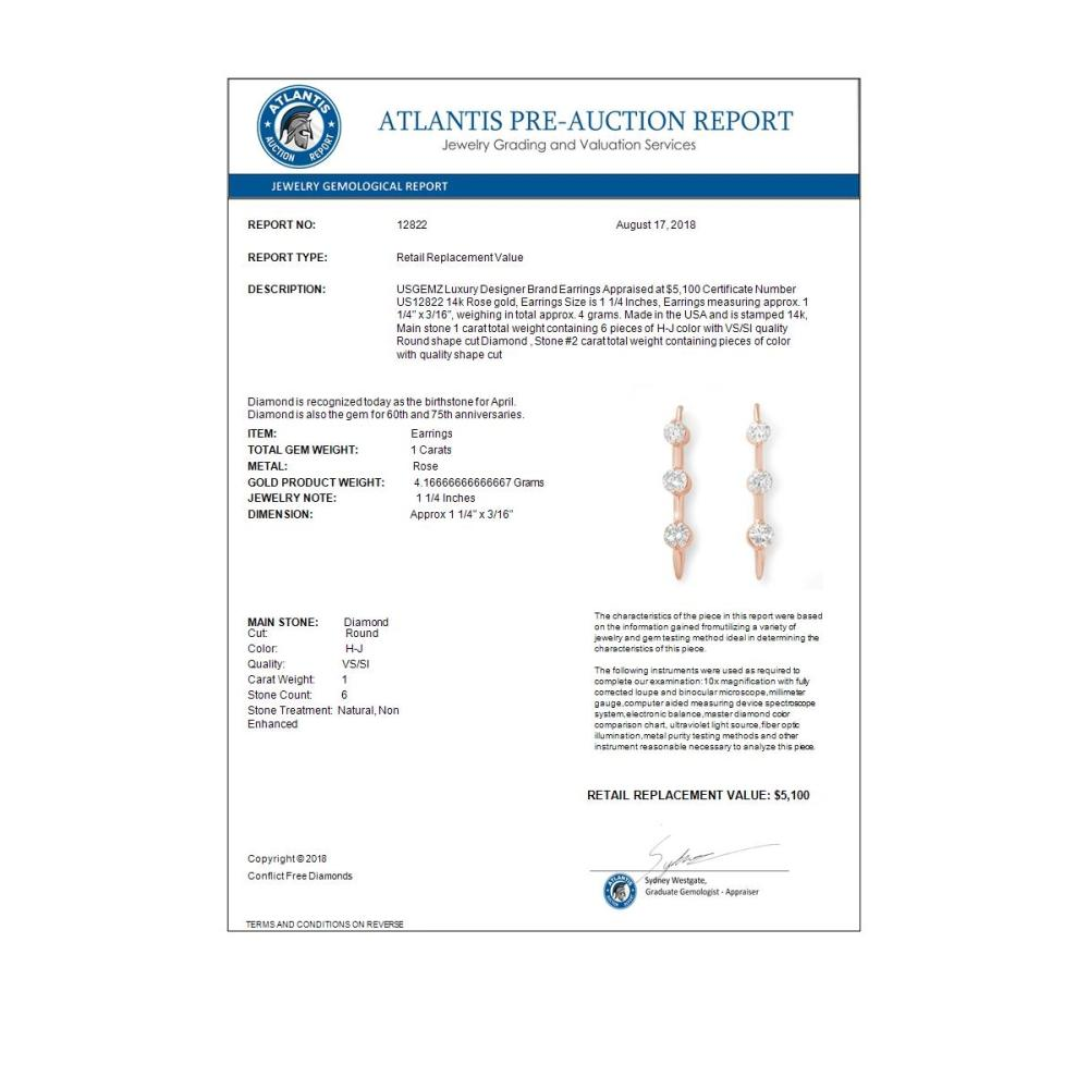 Lot 6259: 1.0 ctw VS/SI Diamond Stud Earrings 14K Rose Gold - REF-116V2Y - SKU:12822