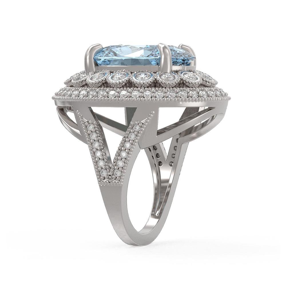 Lot 6603: 16.82 ctw Sky Topaz & Diamond Ring 14K White Gold - REF-229N3A - SKU:43853