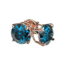 Lot 6614: 1.55 ctw Intense Blue Diamond Stud Earrings 10K Rose Gold - REF-127Y5X - SKU:36616
