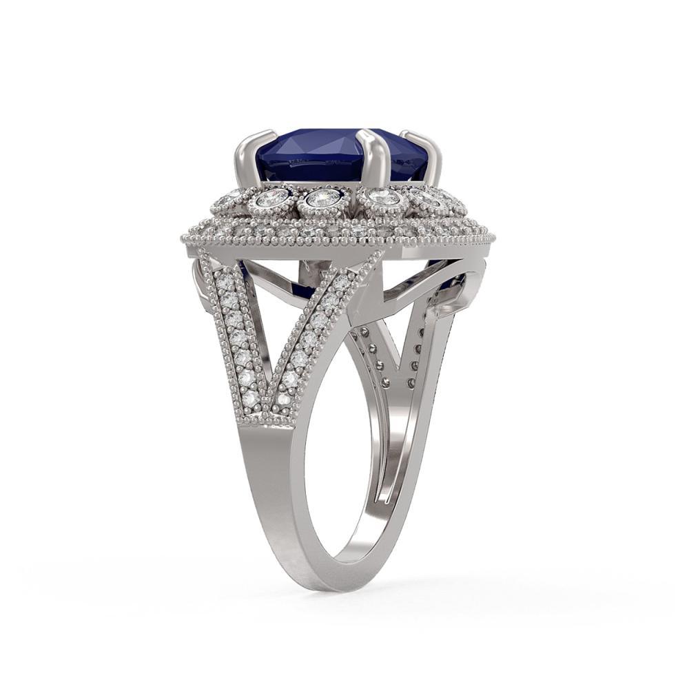 Lot 6615: 6.47 ctw Sapphire & Diamond Ring 14K White Gold - REF-142R4K - SKU:43934