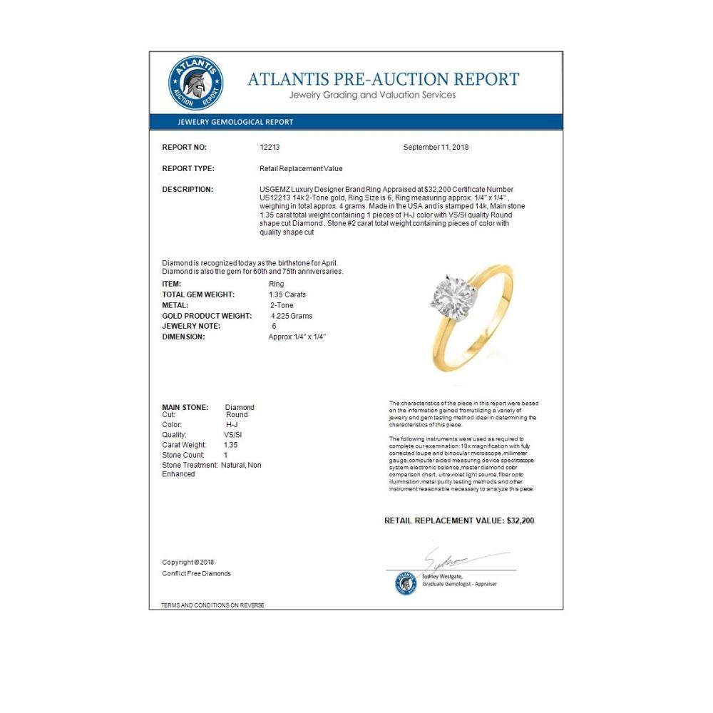 Lot 6275: 1.35 ctw VS/SI Diamond Ring 14K 2-Tone Gold - REF-690N5A - SKU:12213