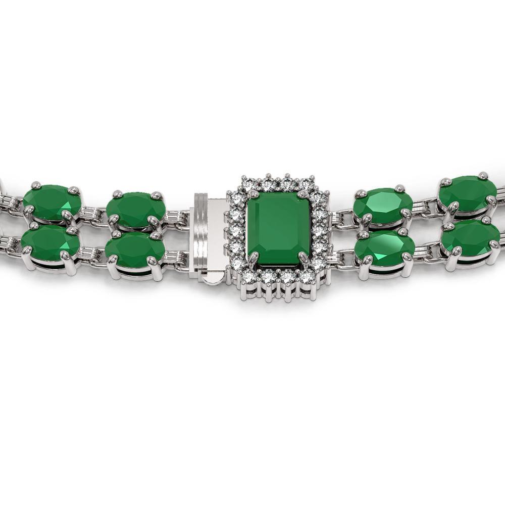 Lot 6662: 41.63 ctw Emerald & Diamond Necklace 14K White Gold - REF-464M5F - SKU:44966