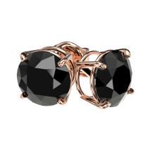 Lot 6638: 2.09 ctw Fancy Black Diamond Solitaire Stud Earrings 10K Rose Gold - REF-58Y5X - SKU:36647