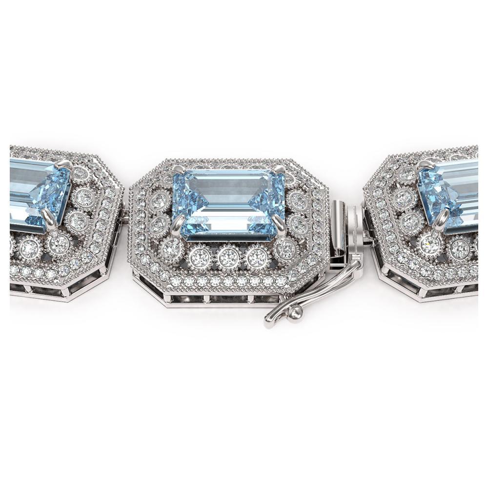 Lot 6637: 109.25 ctw Aquamarine & Diamond Necklace 14K White Gold - REF-3037W8H - SKU:43472