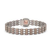 Lot 6677: 27.48 ctw Morganite & Diamond Bracelet 14K Rose Gold - REF-402V9Y - SKU:45891