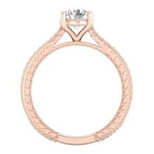 Lot 6692: 1.45 ctw VS/SI Diamond Solitaire Art Deco Ring 18K Rose Gold - REF-400Y2X - SKU:37005