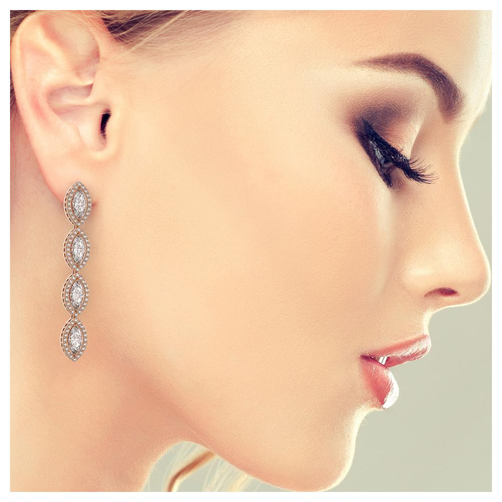 Lot 6714: 6.08 ctw Marquise Diamond Earrings 18K Rose Gold - REF-852V3Y - SKU:42747