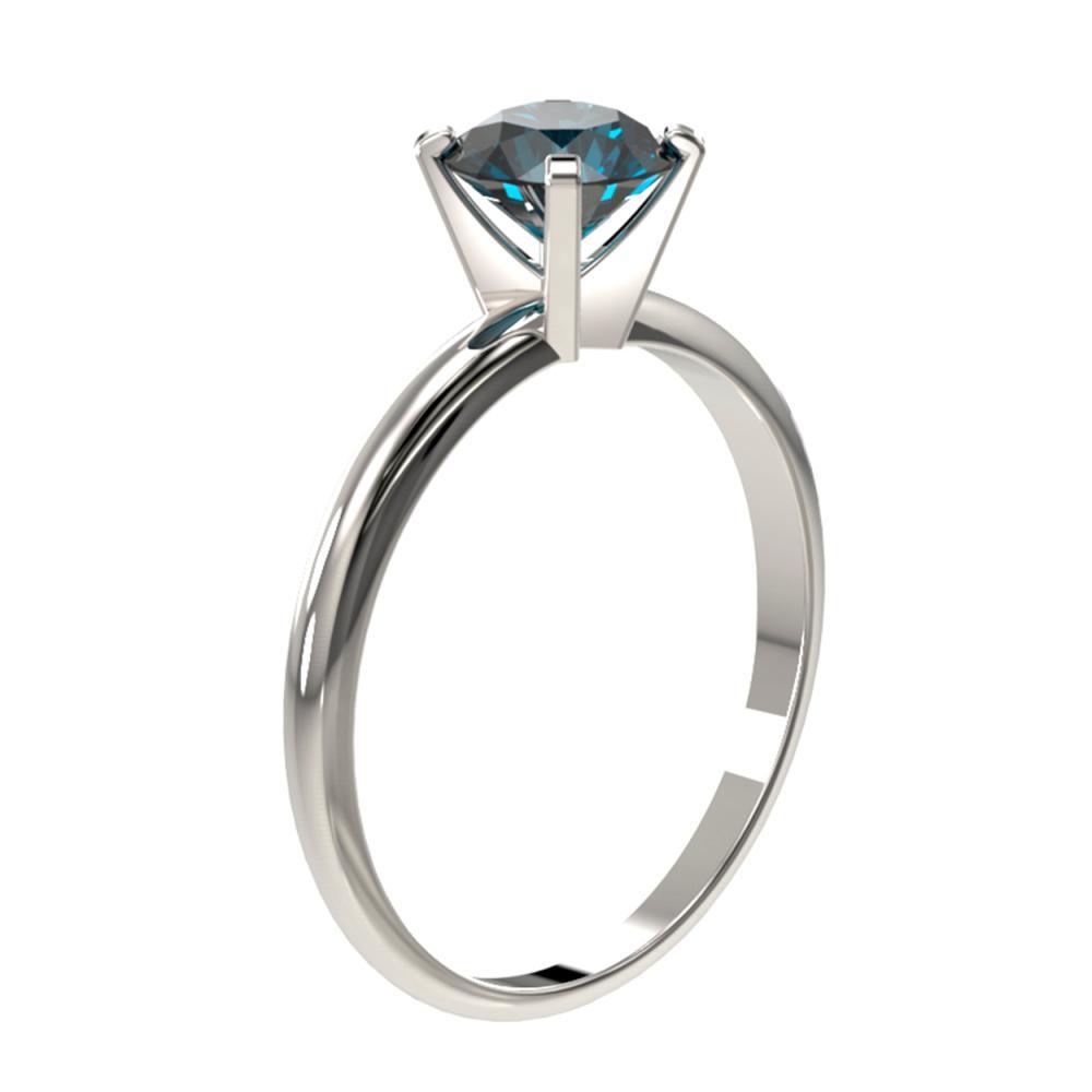 Lot 6736: 1.03 ctw Intense Blue Diamond Ring 10K White Gold - REF-112M5F - SKU:36412