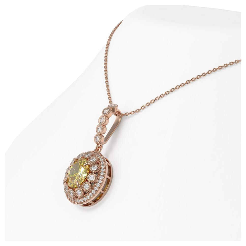 Lot 6725: 3.87 ctw Canary Citrine & Diamond Necklace 14K Rose Gold - REF-120K2W - SKU:43671