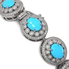 Lot 6724: 38.17 ctw Turquoise & Diamond Bracelet 14K White Gold - REF-1179V3Y - SKU:46122