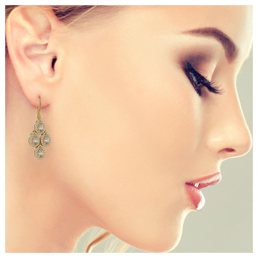 Lot 6749: 3.61 ctw Pear Diamond Earrings 18K Yellow Gold - REF-306R5K - SKU:43081