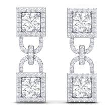 Lot 6796: 4 ctw SI/I Diamond Halo Earrings 18K White Gold - REF-292V5Y - SKU:40157