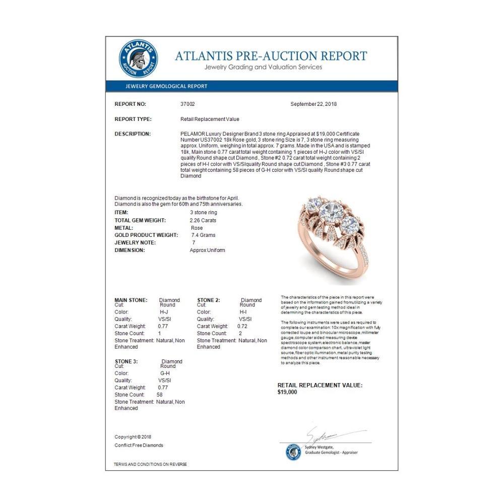 Lot 6399: 2.26 ctw VS/SI Diamond Art Deco 3 Stone Ring 18K Rose Gold - REF-345H5M - SKU:37002