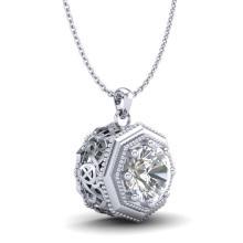 Lot 6852: 0.75 ctw VS/SI Diamond Solitaire Art Deco Stud Necklace 18K White Gold - REF-180V2Y - SKU:37097