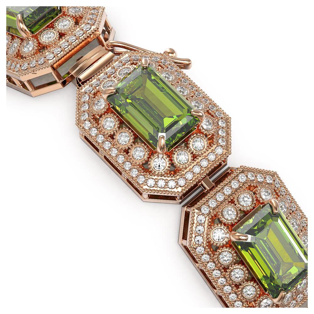 Lot 6850: 58.5 ctw Tourmaline & Diamond Bracelet 14K Rose Gold - REF-1623A3V - SKU:43503