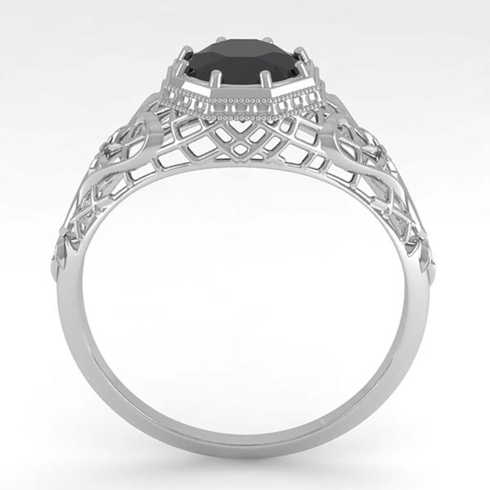 Lot 6889: 1.0 ctw Black Diamond Ring Deco 18K White Gold - REF-65H3M - SKU:36036