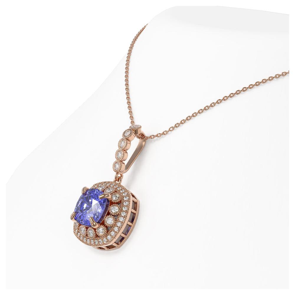 Lot 6870: 7.19 ctw Tanzanite & Diamond Necklace 14K Rose Gold - REF-234H9M - SKU:44010