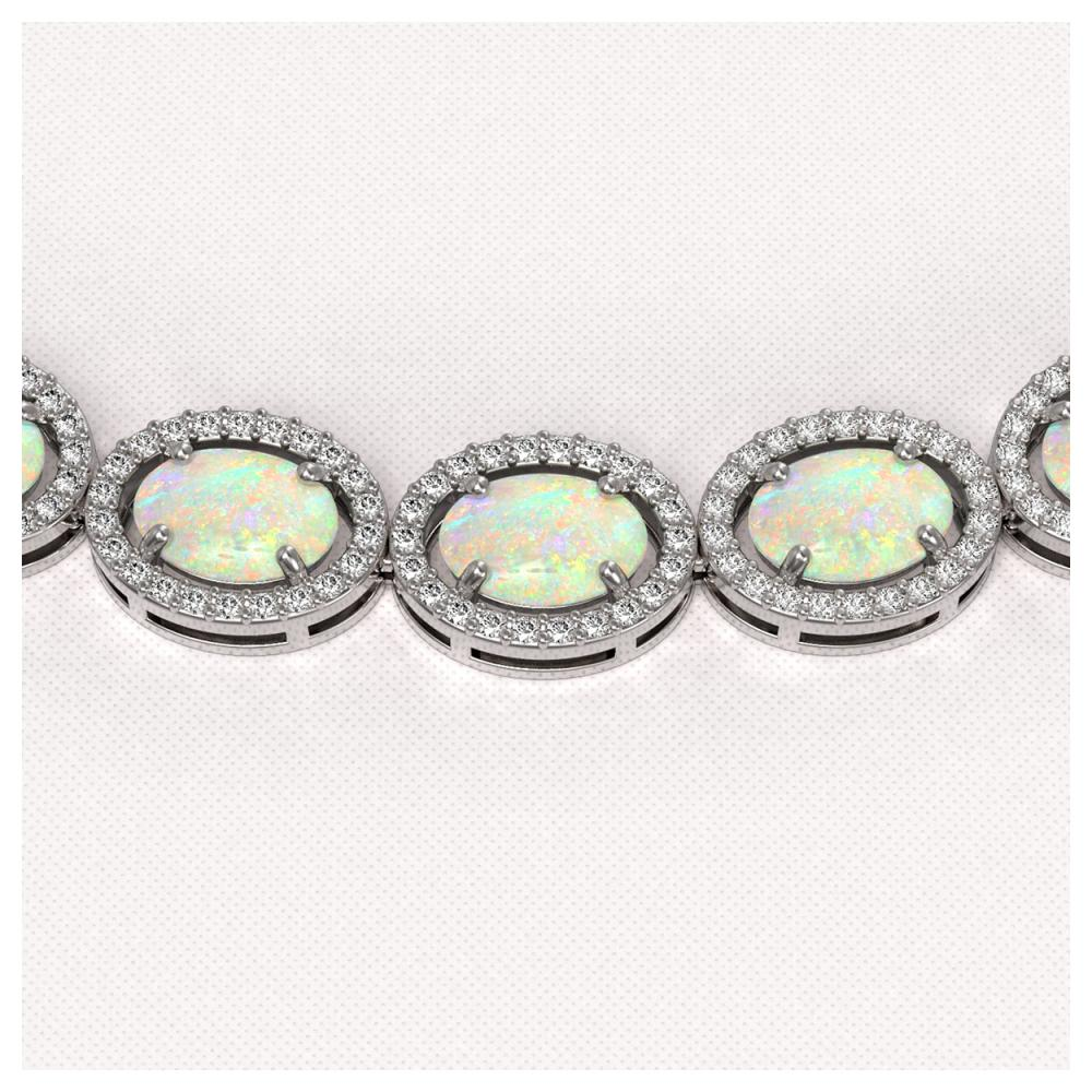 Lot 6878: 32.42 ctw Opal & Diamond Halo Necklace 10K White Gold - REF-670Y7X - SKU:40568