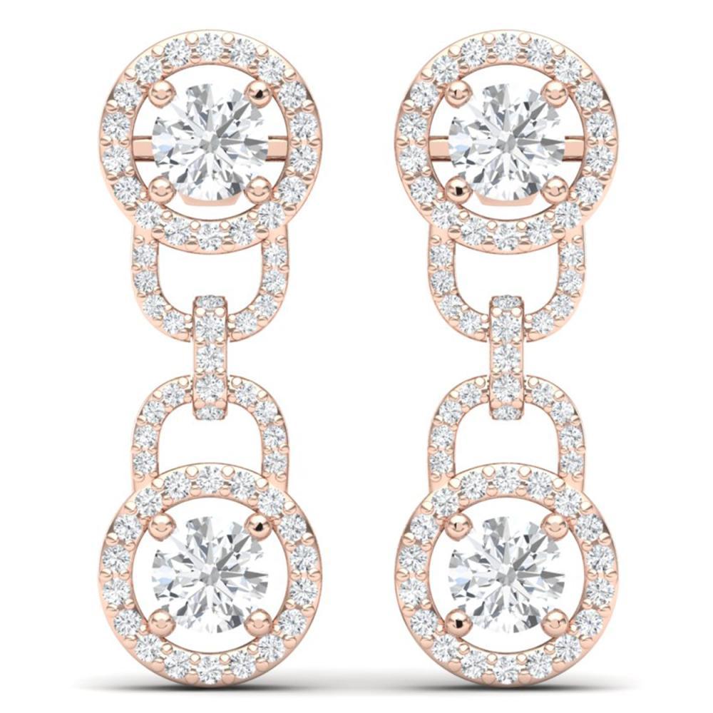 Lot 6884: 4 ctw SI/I Diamond Halo Earrings 18K Rose Gold - REF-298X5R - SKU:40104
