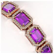 Lot 6896: 22.81 ctw Amethyst & Diamond Halo Bracelet 10K Rose Gold - REF-302M9F - SKU:41418