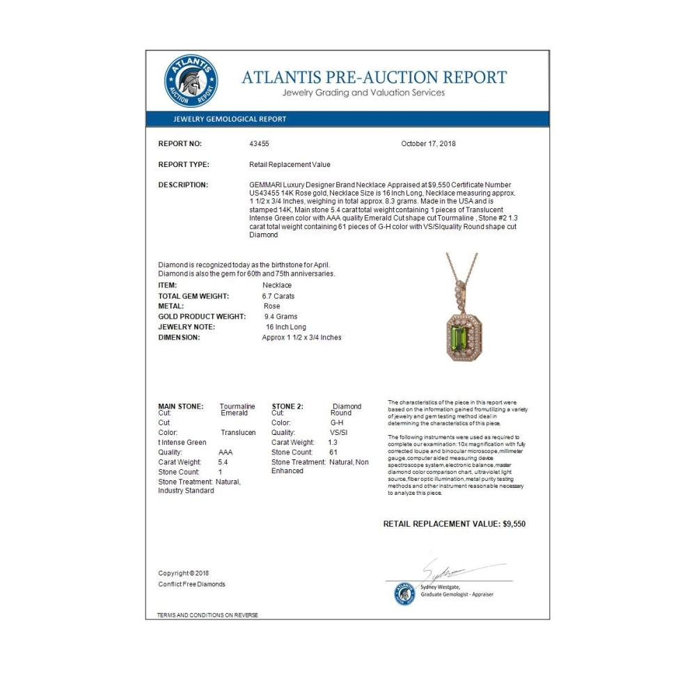 Lot 6486: 6.7 ctw Tourmaline & Diamond Necklace 14K Rose Gold - REF-193A3V - SKU:43455