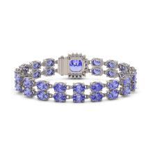 Lot 6949: 16.96 ctw Tanzanite & Diamond Bracelet 14K White Gold - REF-219F3N - SKU:45602