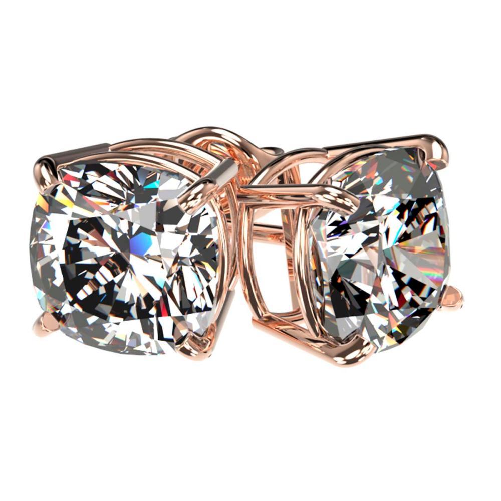 Lot 6972: 2.50 ctw VS/SI Cushion Diamond Stud Earrings 10K Rose Gold - REF-735X2R - SKU:33118