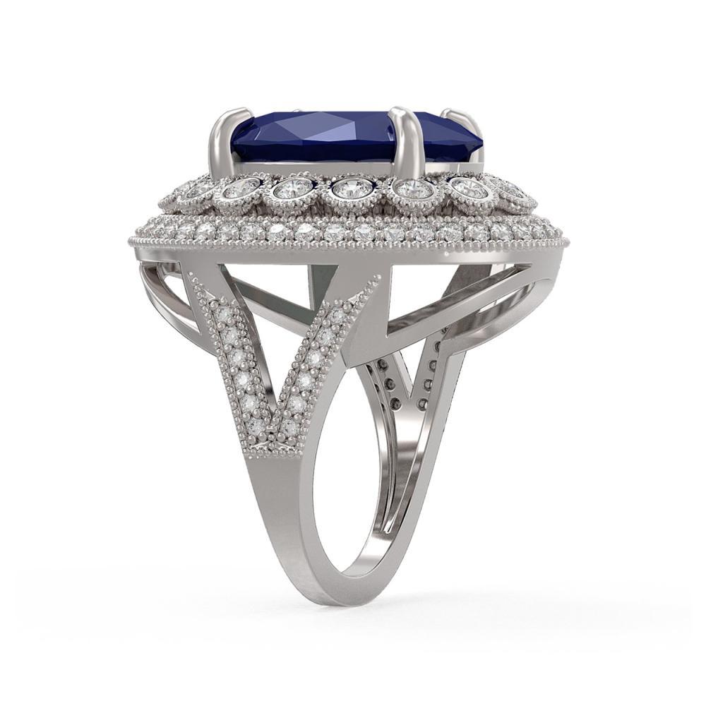 Lot 6962: 13.85 ctw Sapphire & Diamond Ring 14K White Gold - REF-275Y8X - SKU:43850